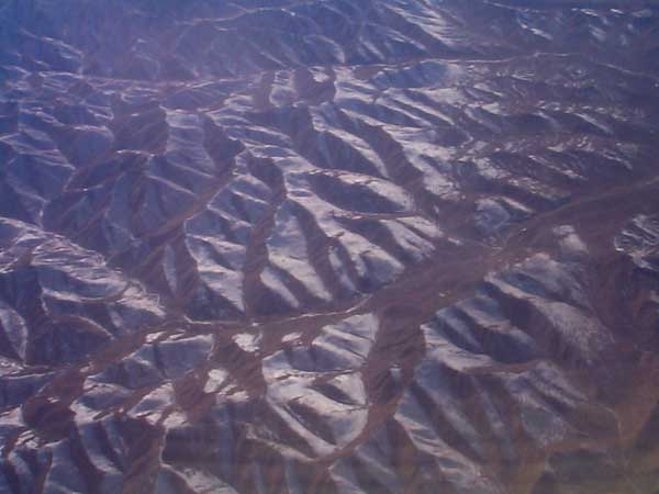 View from the air looking down to the Gobi Desert